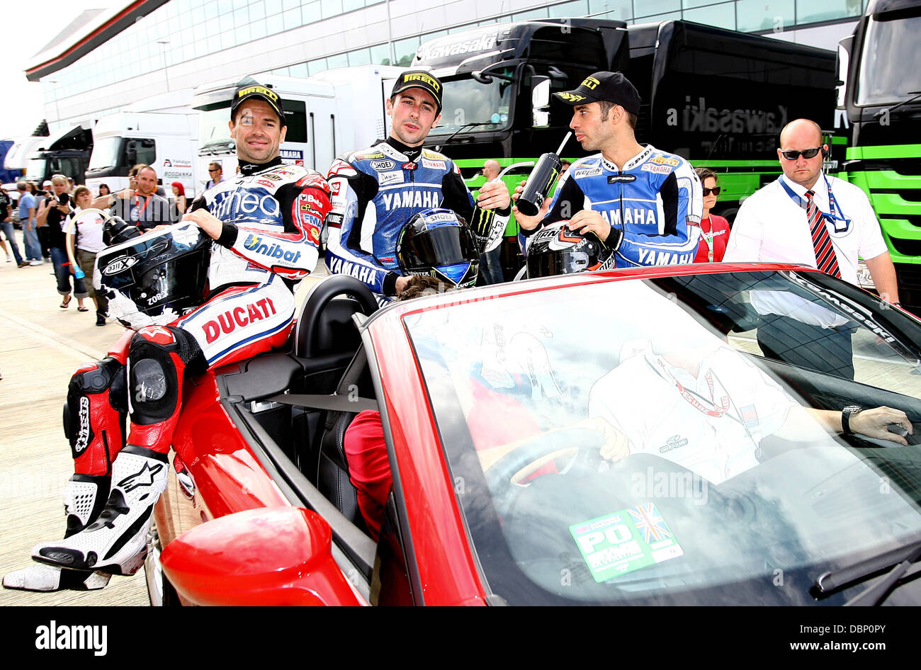 Carlos Checa (1st place) Eugene Laverty (2nd) and Marco Melandri (3rd)  The World Superbikes at Silverstone Silverstone, - Stock Image