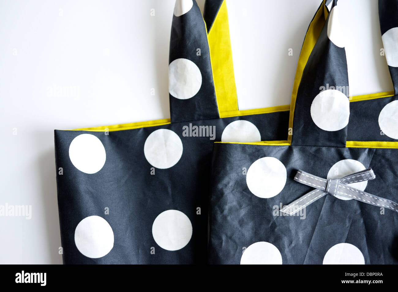Bag with polka dots, close-up, Munich, Bavaria, Germany - Stock Image