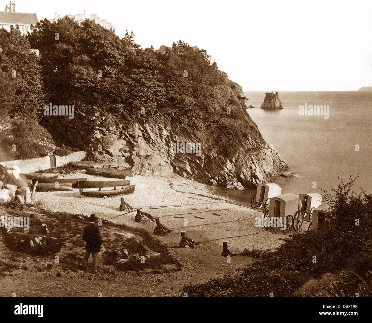 Torquay The Ladies' Bathing Cove 1860s - Stock Image