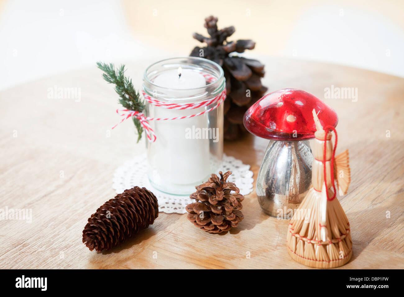 Variety of Christmas ornaments, Munich, Bavaria, Germany - Stock Image