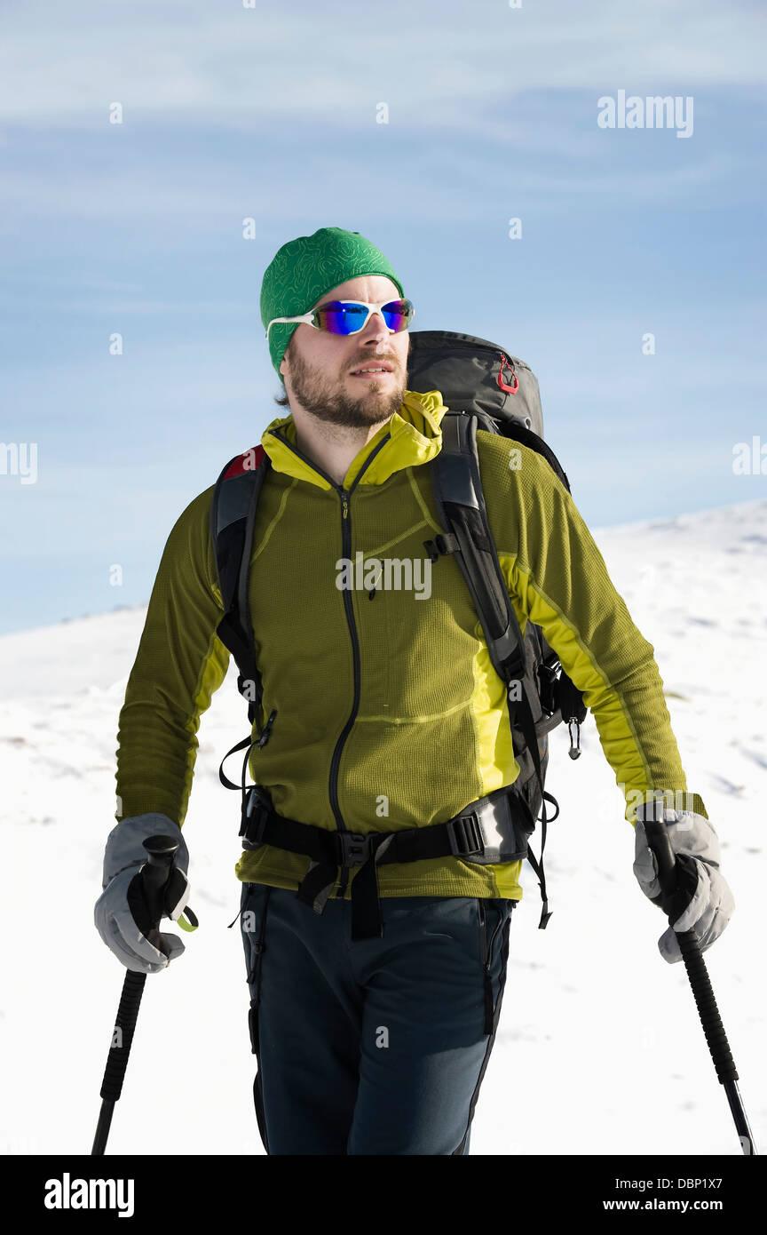 Backcountry skier with ski goggles, Alpbachtal, Tyrol, Austria, Europe - Stock Image