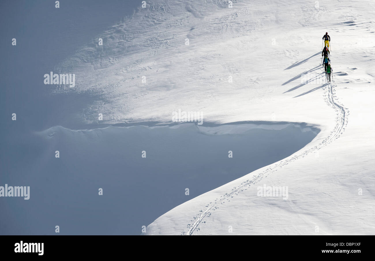 Backcountry skiers on the move, Alpbachtal, Tyrol, Austria, Europe - Stock Image