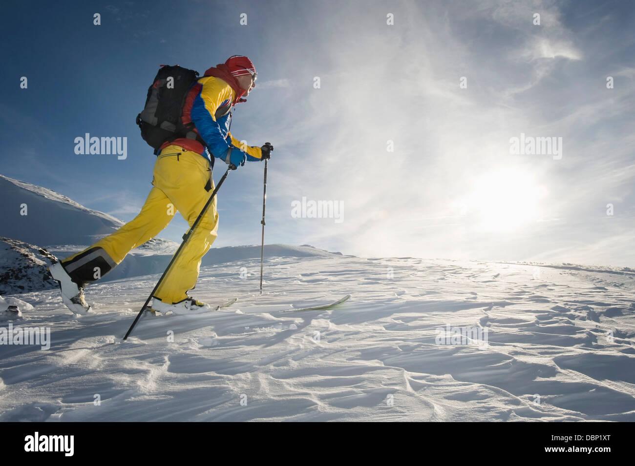 Backcountry skier on the move, Alpbachtal, Tyrol, Austria, Europe - Stock Image