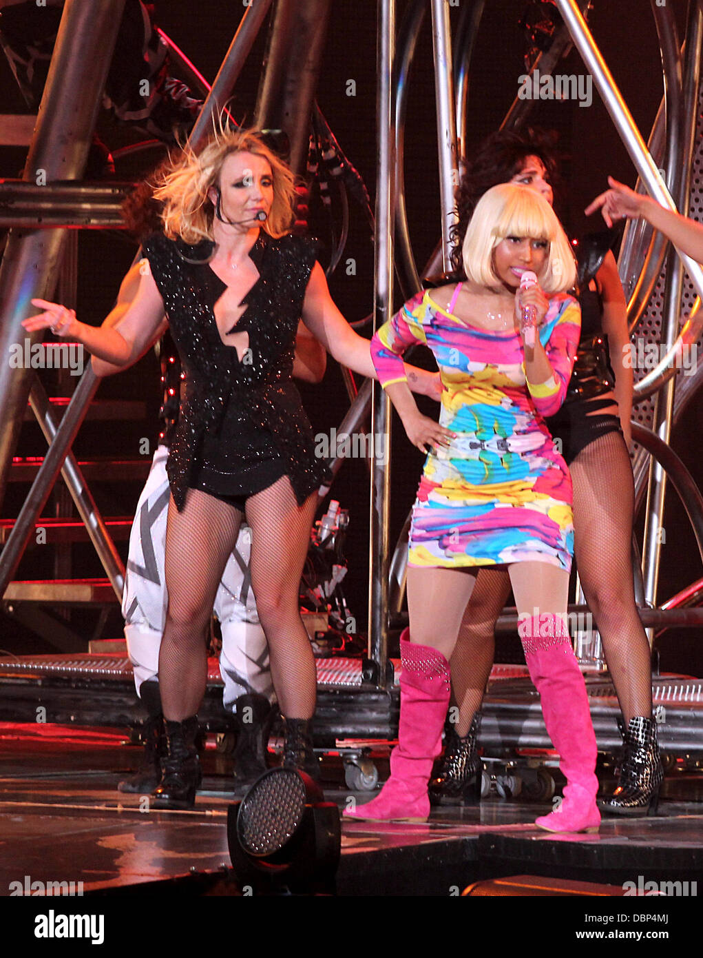 Britney Spears And Nicki Minaj Performing On Her Femme Fatale Tour Stock Photo Alamy