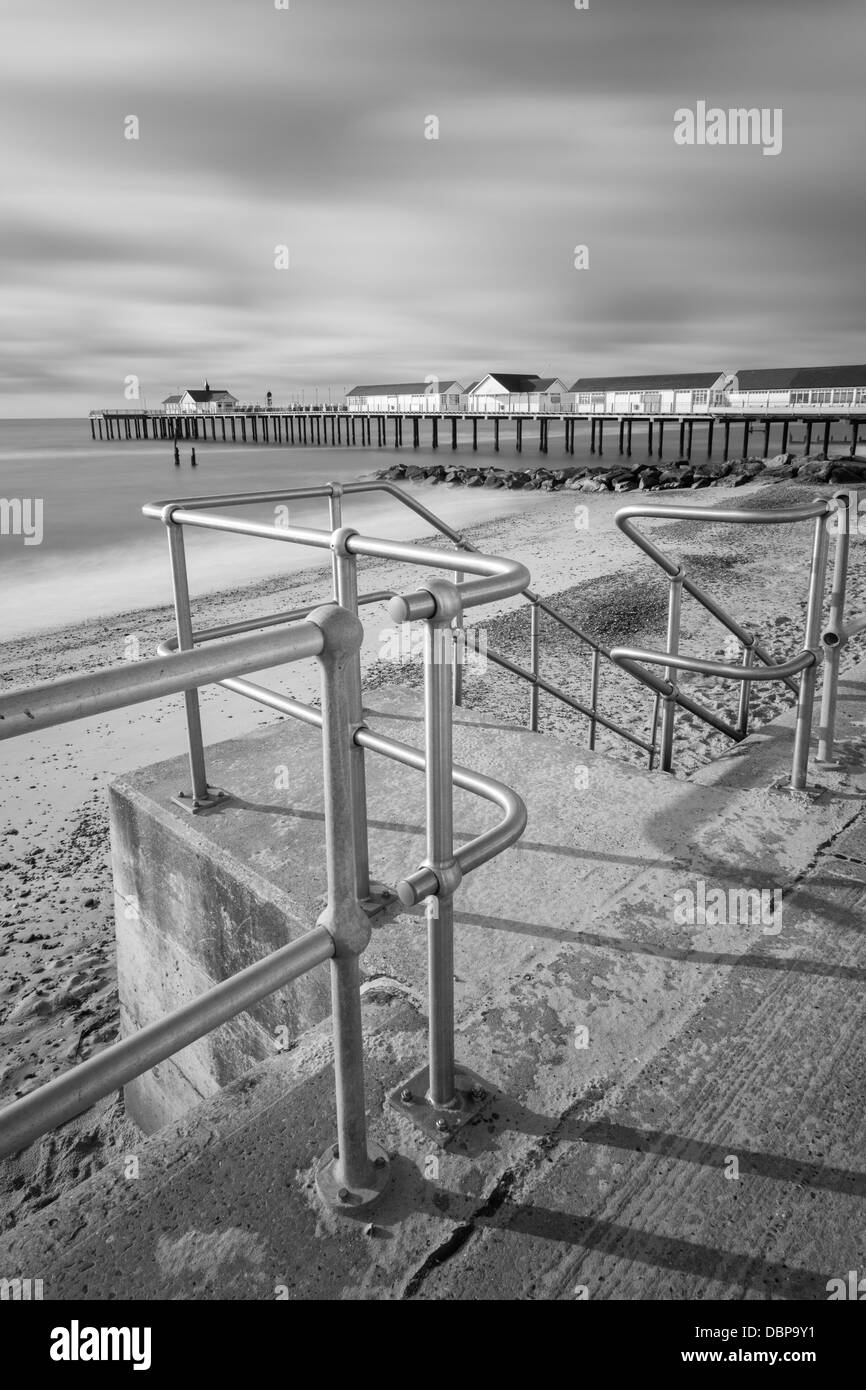 Stainless steel railings on promenade Southwold, Suffolk - Stock Image