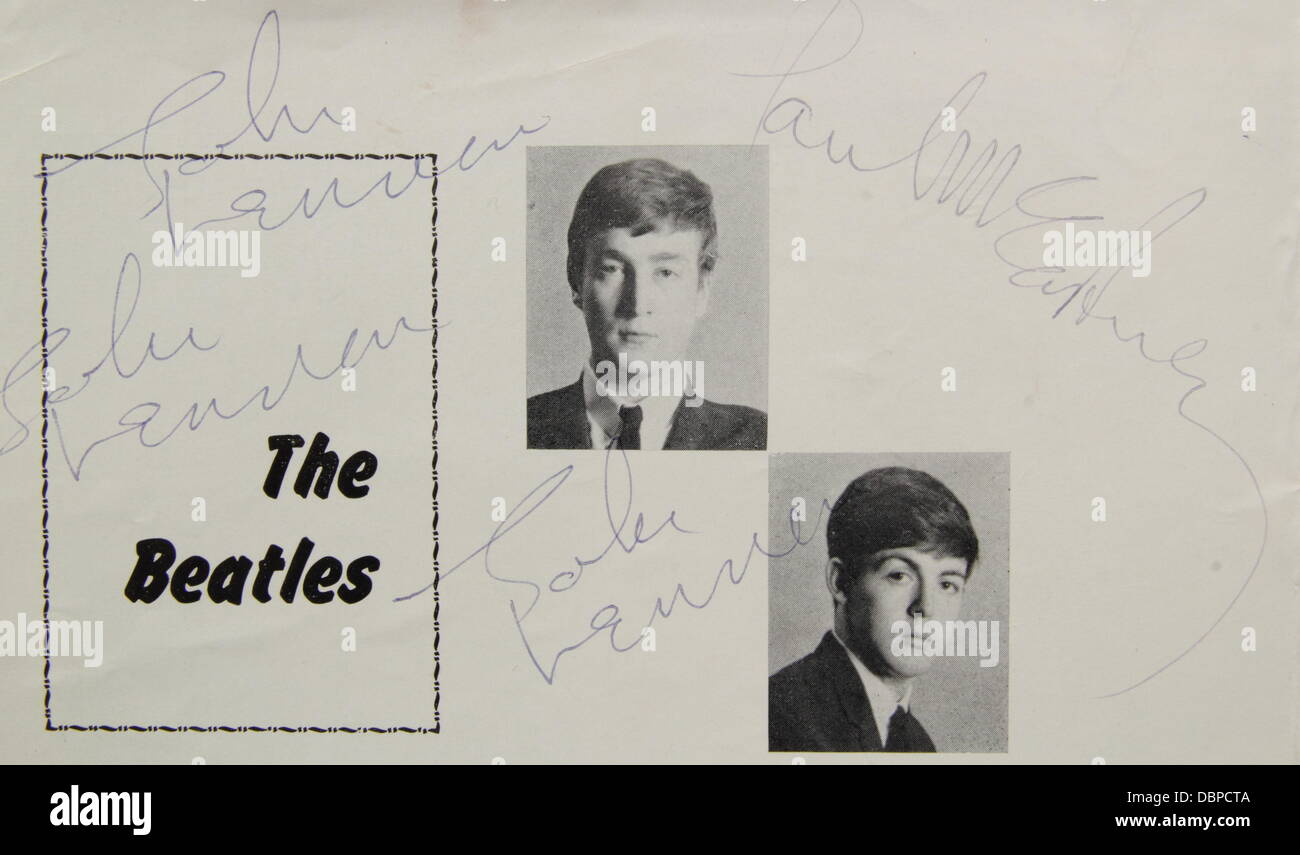 Etwall, Derbyshire, UK. 2 August 2013.  Detail from an authenticated Beatles programme dated 16/03/63 from a Sheffield - Stock Image