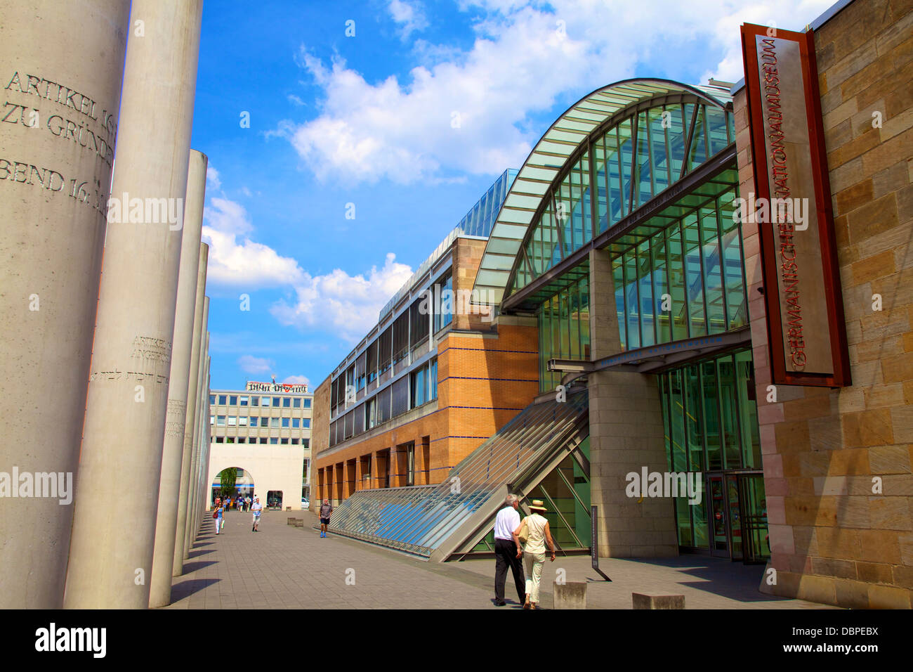 Germanisches National Museum and Way of Human Rights, Nuremberg, Bavaria, Germany, Europe - Stock Image