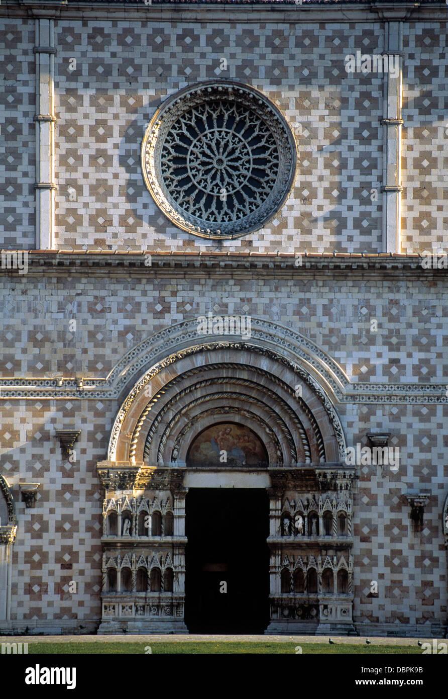 The church of Santa Maria di Collemaggio, L'Aquila, Abruzzo, Italy - Stock Image