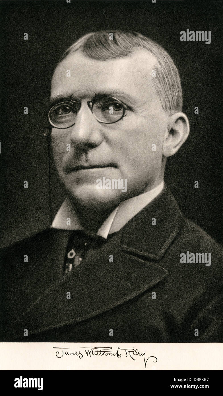 American poet James Whitcomb Riley, with his autograph. Photogravure Stock Photo