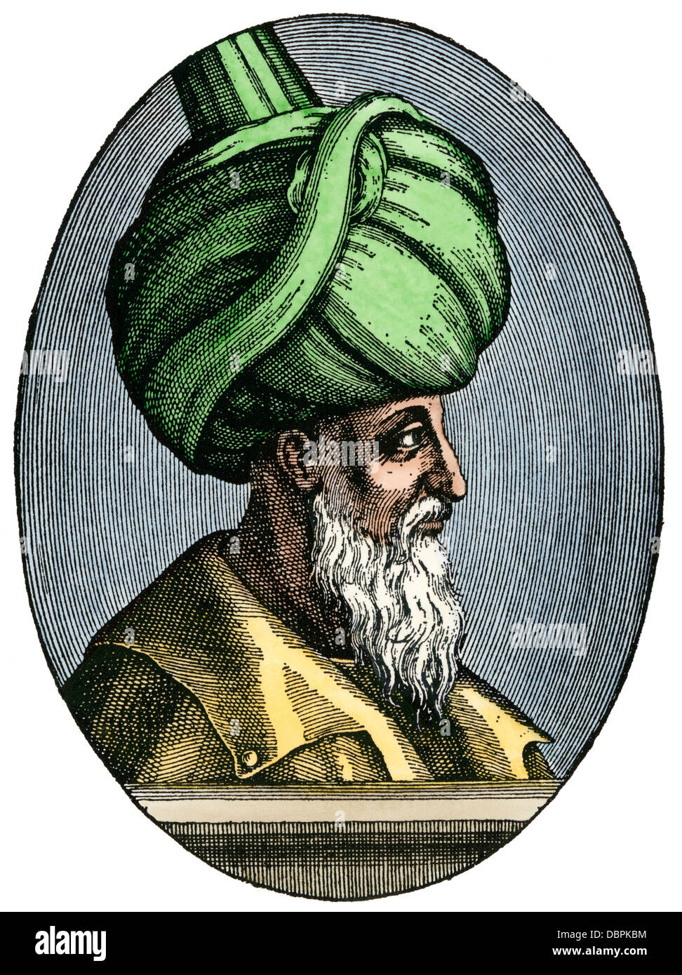 Suleiman I, 'The Magnificent,' sultan of the Ottoman Empire. Hand-colored woodcut - Stock Image