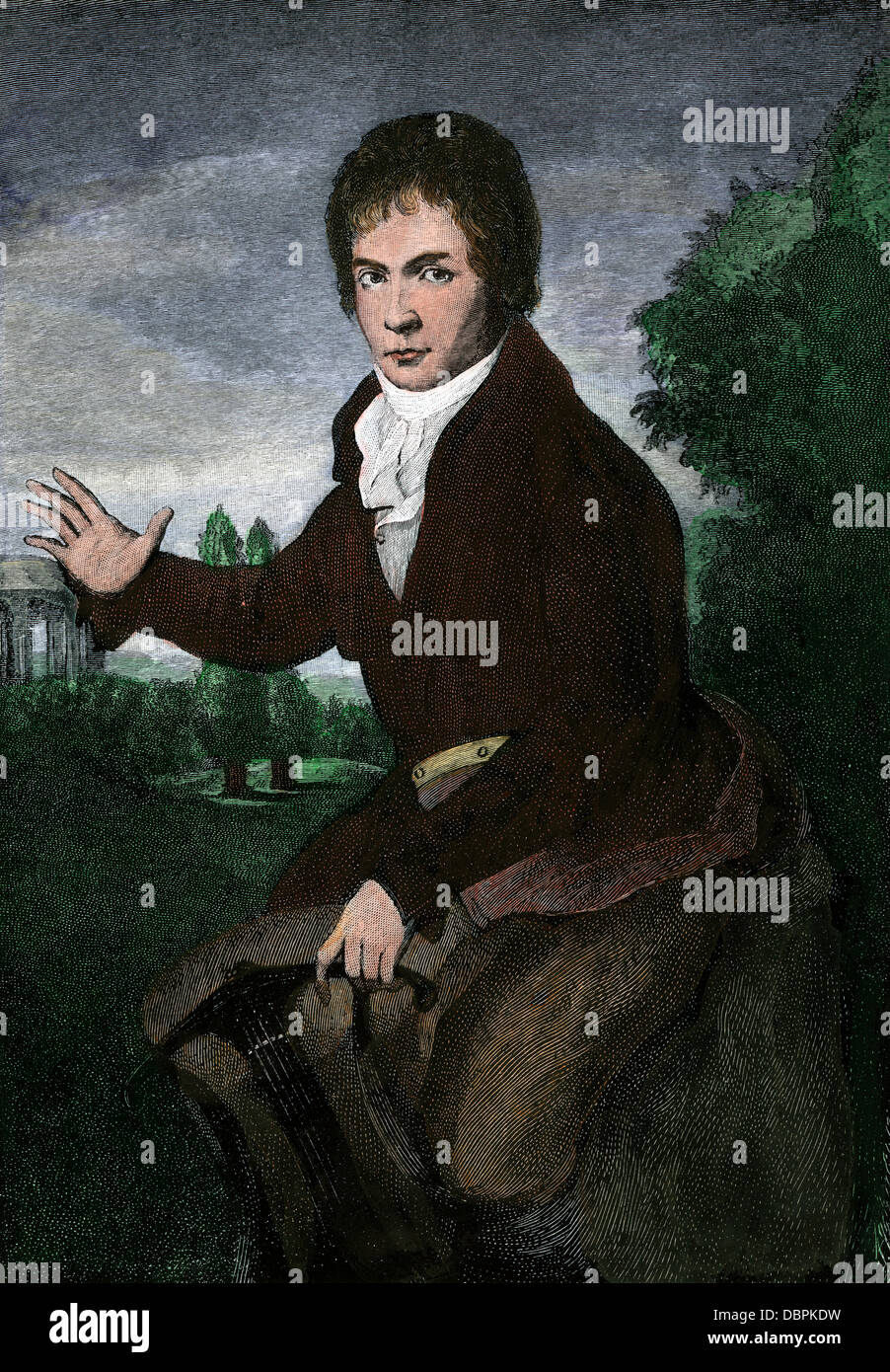 Ludwig van Beethoven at age 38. Hand-colored engraving from a portrait by W.F. Mahler - Stock Image