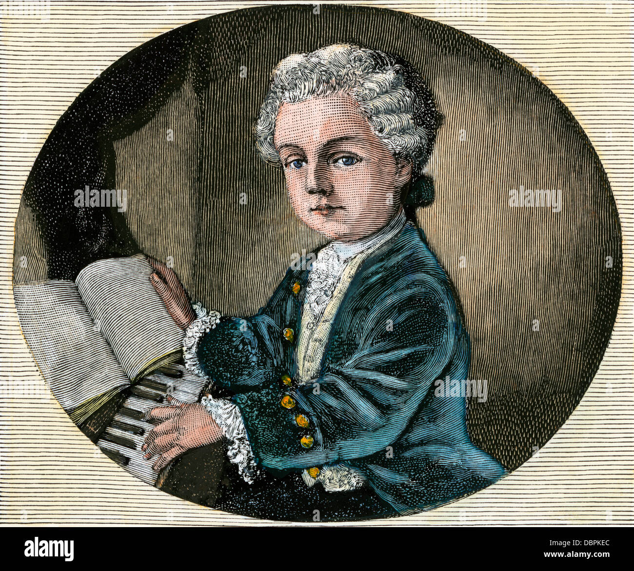 Mozart performing at 4 years of age. Hand-colored woodcut - Stock Image