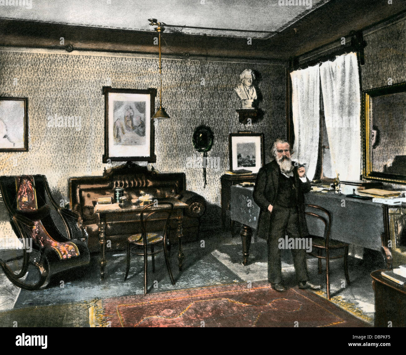 Johannes Brahms in his study, Vienna, 1800s. Hand-colored halftone reproduction of a photograph Stock Photo