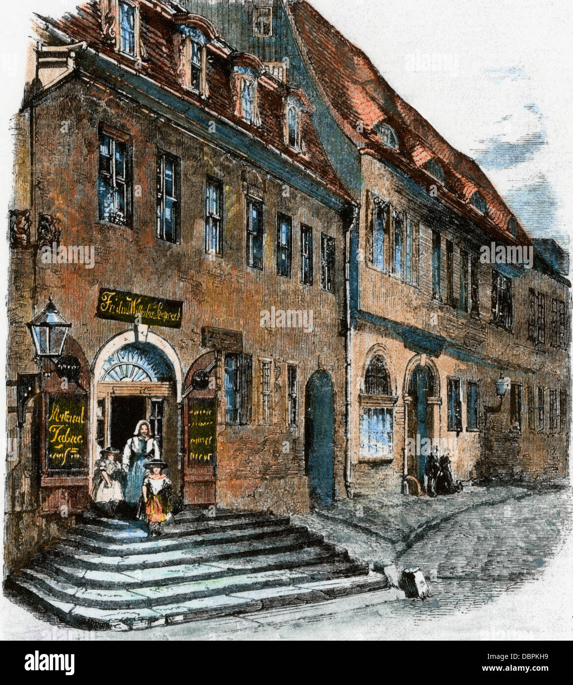 Birthplace of Georg Friedrich Handel at Halle, Saxony, in Germany. Hand-colored woodcut - Stock Image