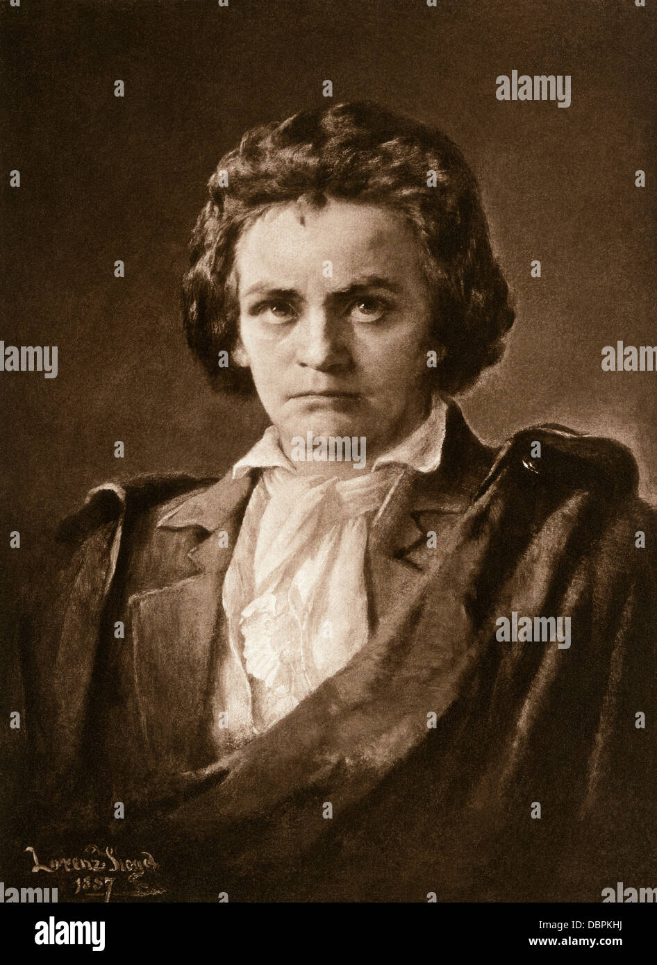 Composer Ludwig van Beethoven. Photogravure of an illustration Stock Photo