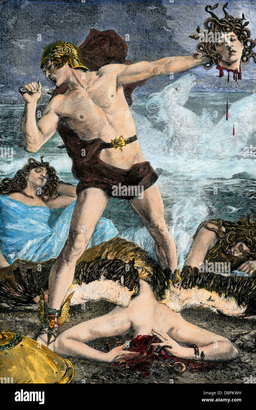 Perseus cutting off Medusa's snake-haired head, in Greek mythology. Hand-colored woodcut - Stock Image