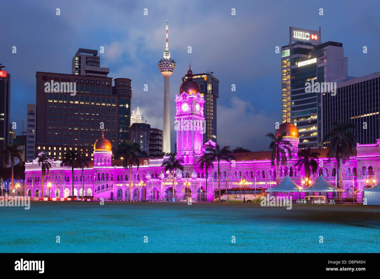 The Sultan Abdul Samad Building at night, Kuala Lumpur, Malaysia, Southeast Asia, Asia - Stock Image