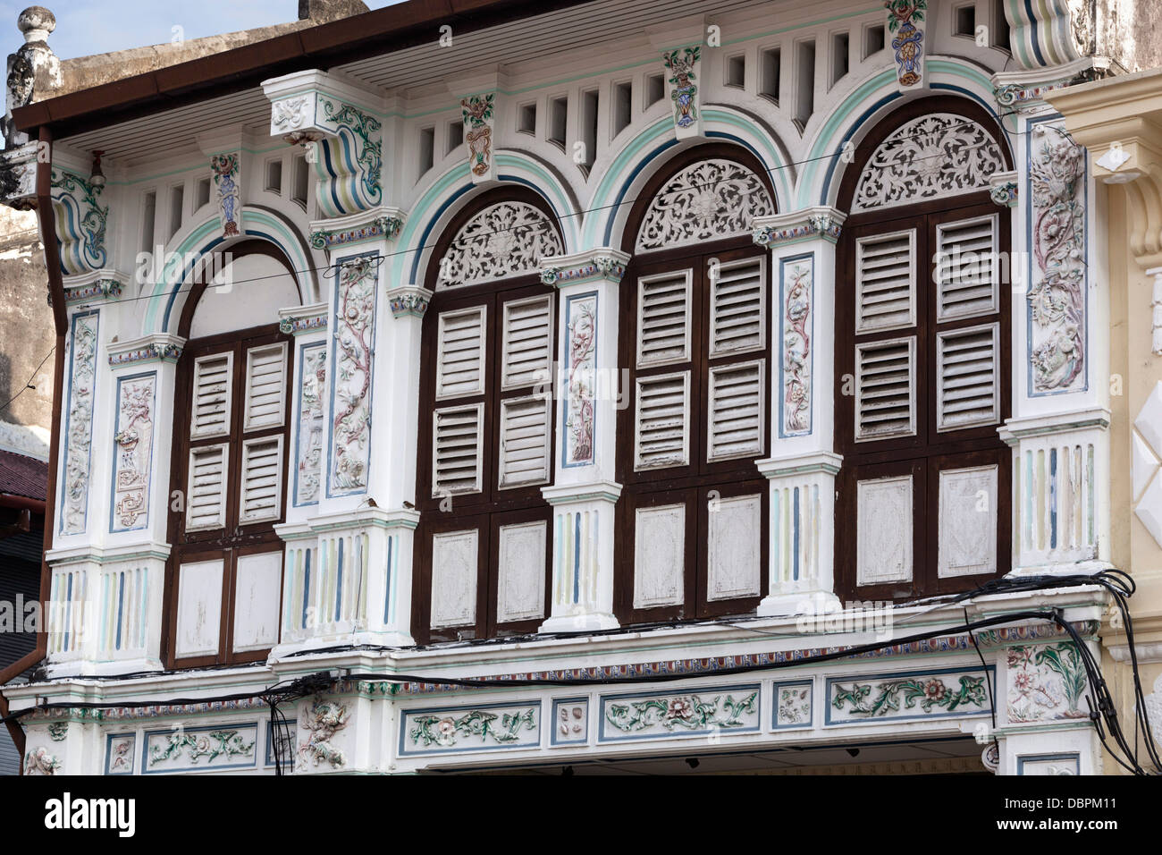 Detail of colonial era houses, Georgetown, Pulau Penang, Malaysia, Southeast Asia, Asia - Stock Image