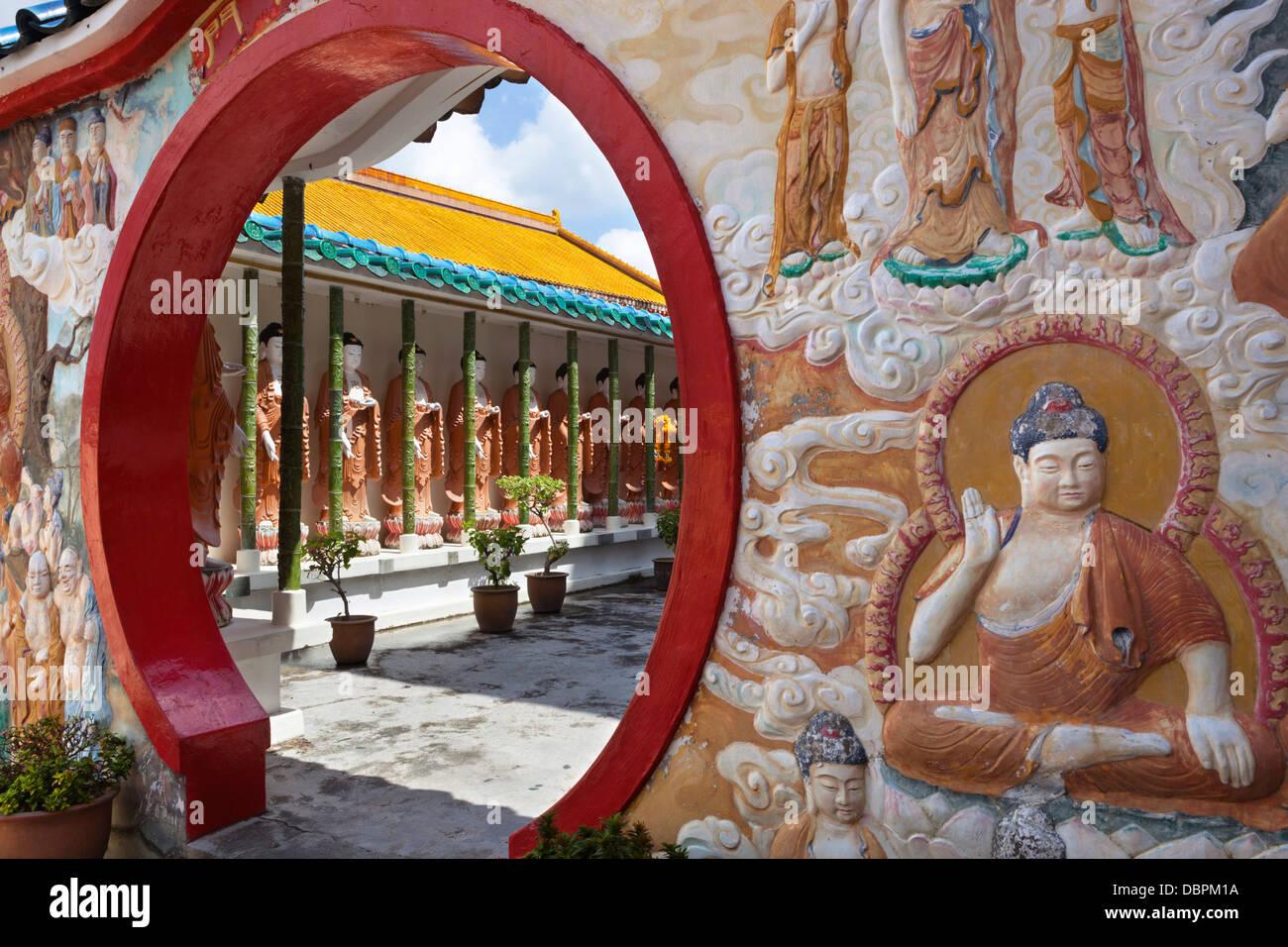 Circular doorway and Buddha's, Kek Lok Si Temple, Crane Hill, Georgetown, Pulau Penang, Malaysia, Southeast Asia, Stock Photo