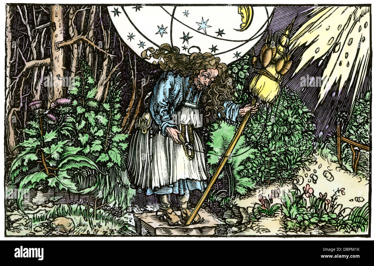 Old-maid witch, from a 1537 German translation of Boethius. Hand-colored woodcut - Stock Image