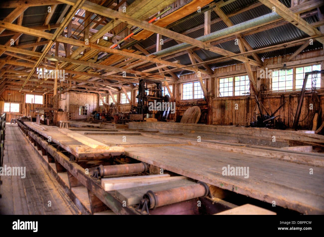 Interior of an old Lumber Mill Stock Photo