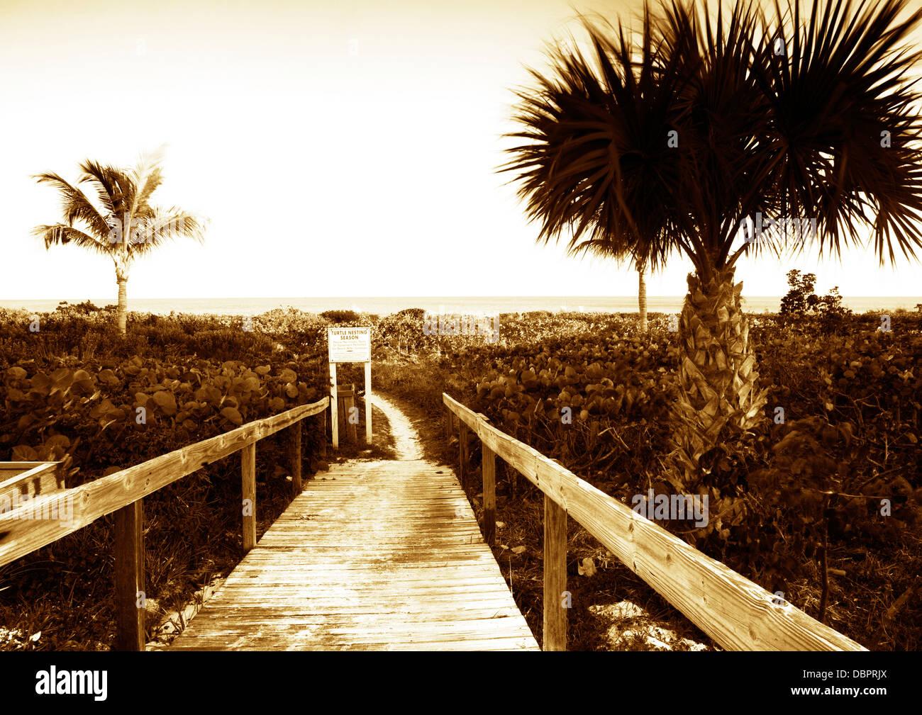 Boardwalk on to beach, Sanibel Island, Florida Stock Photo