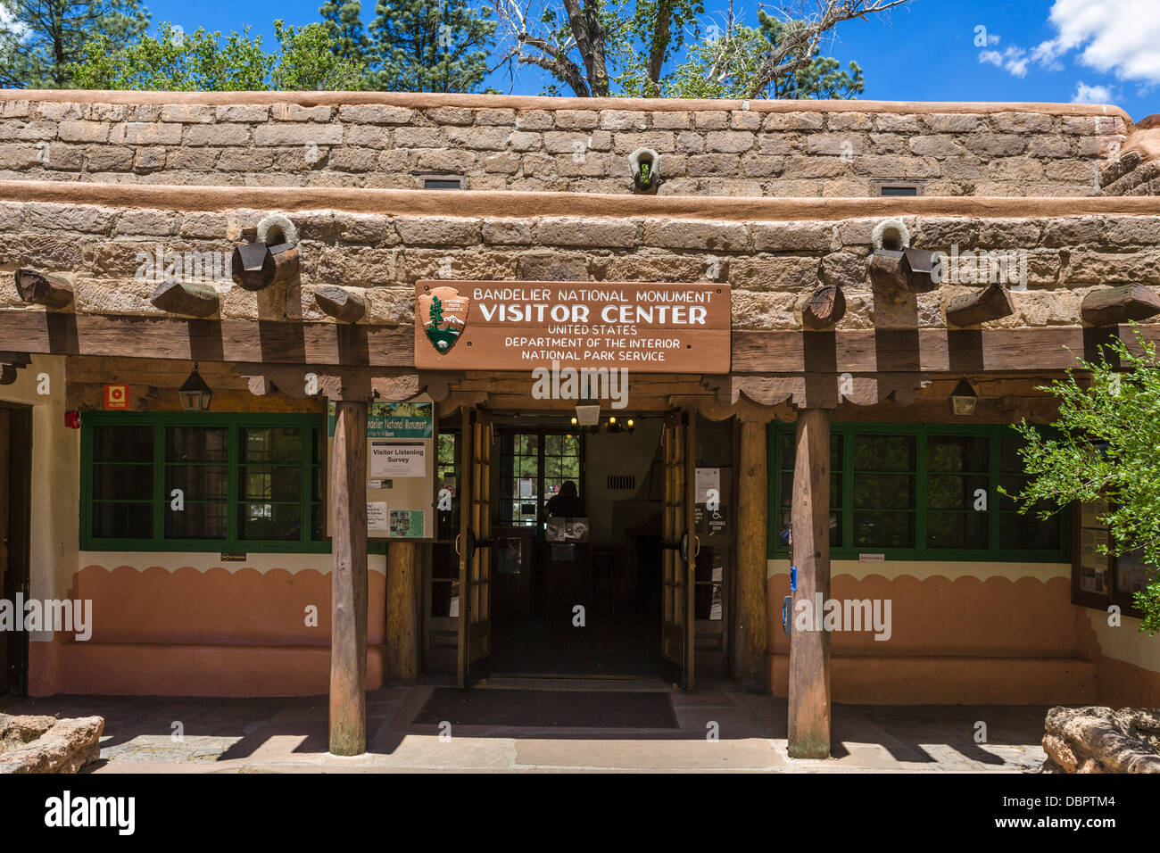 Visitor Center at Bandelier National, Monument, near Los Alamos, New Mexico, USA - Stock Image