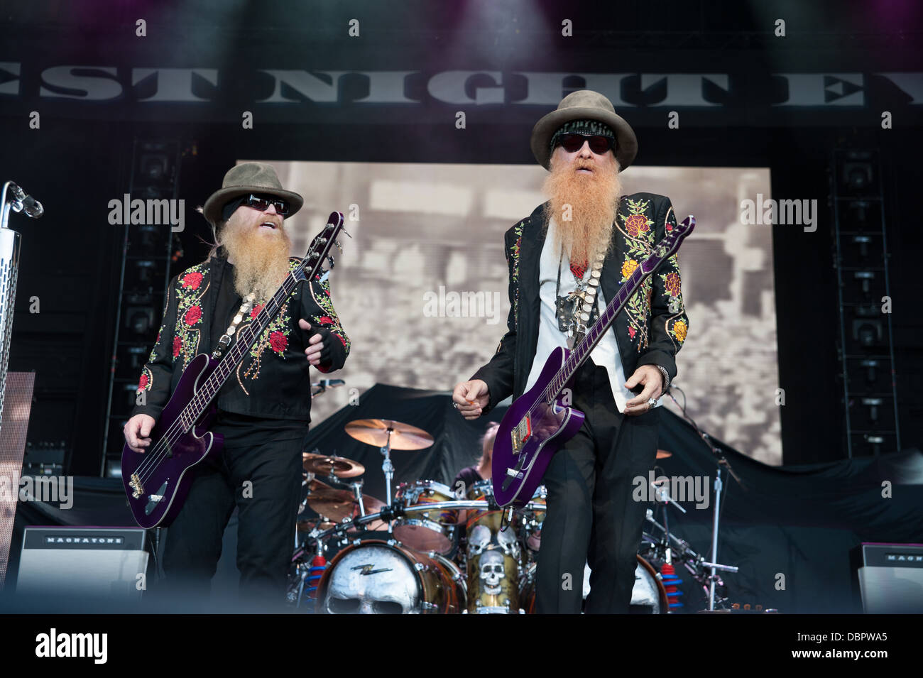 LINCOLN, CA – August 17: ZZ Top performs at Thunder Valley Casino Resort in Lincoln, Calif on August 17, 2012 - Stock Image