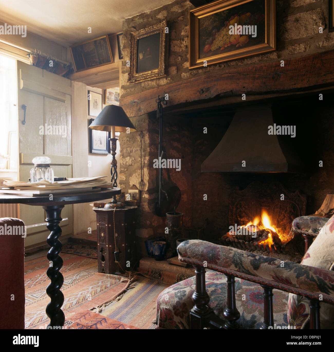 breathtaking old fashioned living room | Pictures on wall above inglenook fireplace in old ...