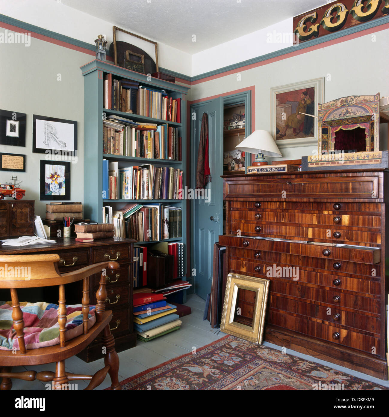 Antique Plans Chest And Blue Painted Bookcase In Old