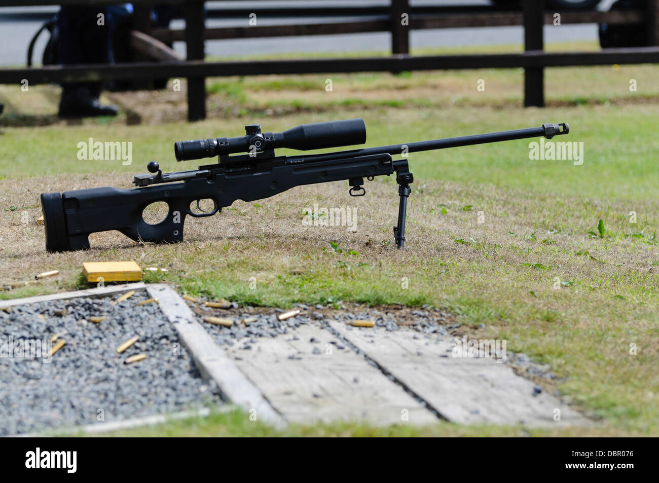 Ballykinlar, Northern Ireland. 2nd August 2013 - A Remington 700 sniper rifle on the firing range Credit:  Stephen - Stock Image