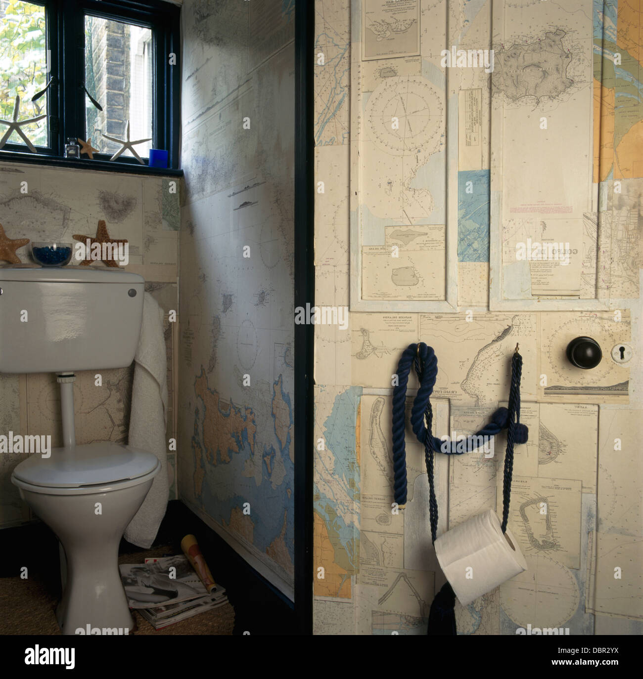 Decoupage maps on door and walls of W C with toilet roll on the door & Decoupage maps on door and walls of W C with toilet roll on the door ...