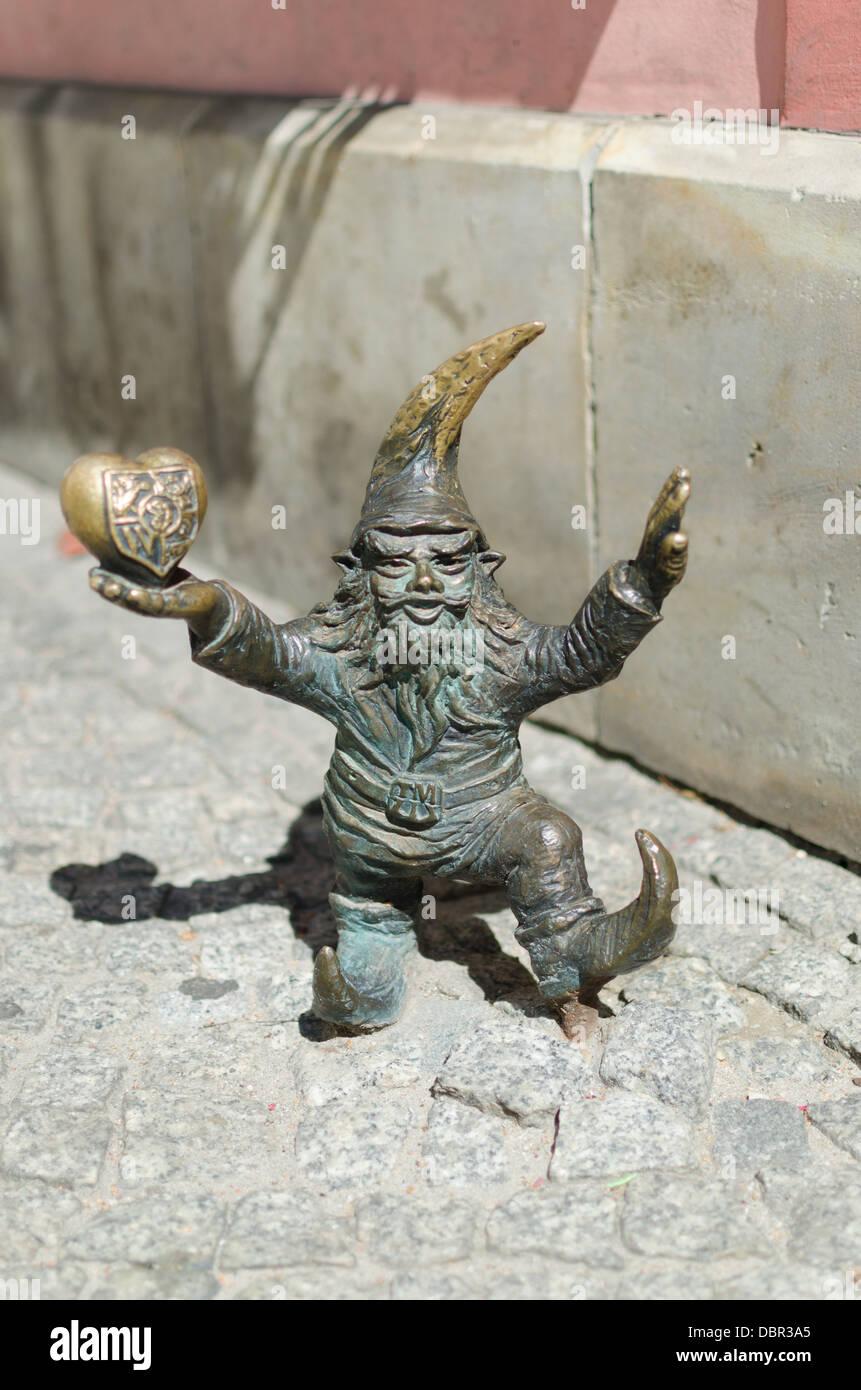 Dwarf in Wroclaw - One of the many Dwarfs of Wroclaw - Stock Image