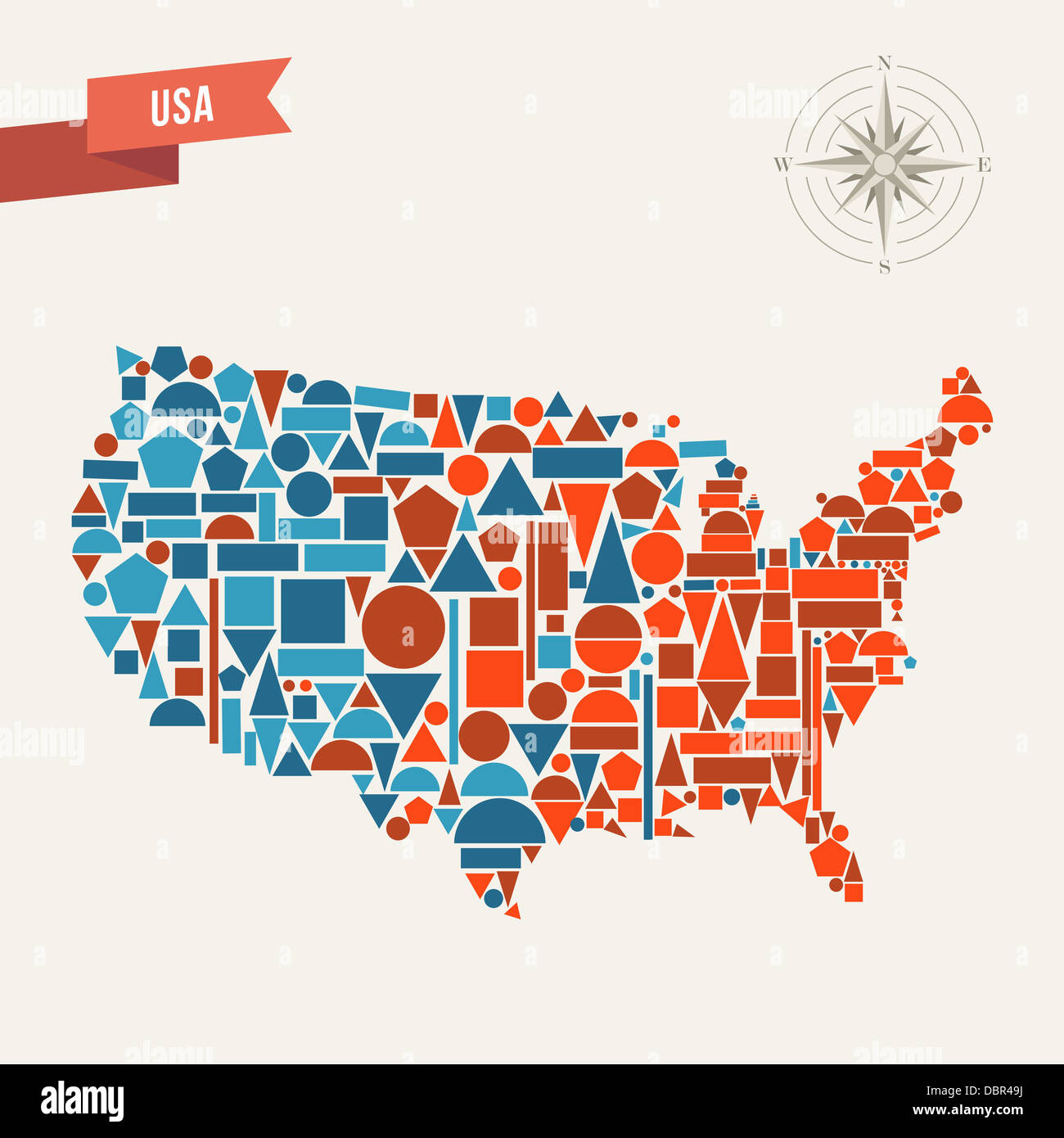 Vector States Map.United States Map Geometric Elements Illustration This Vector Stock