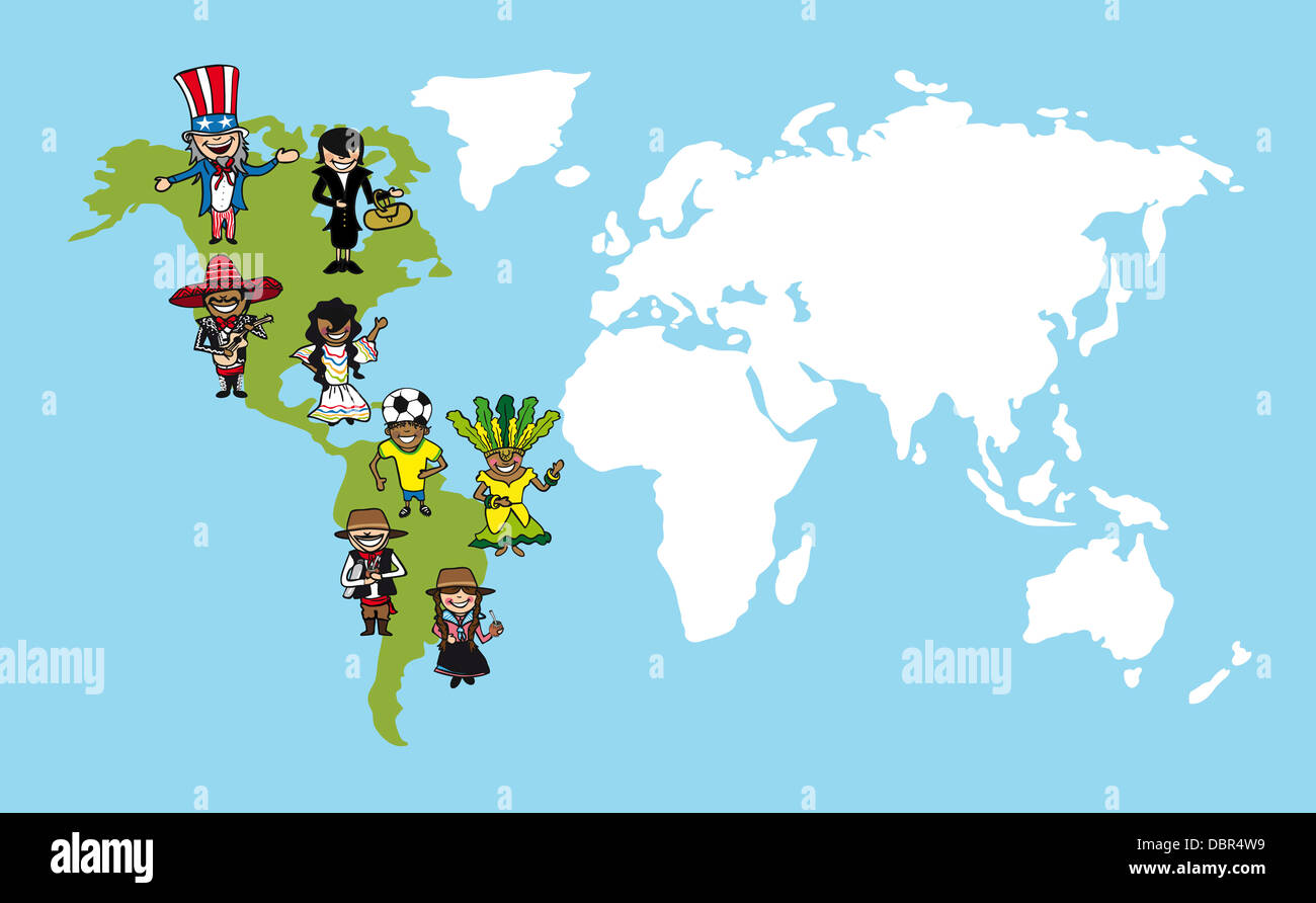 Diversity people concept world map group cartoon over american diversity people concept world map group cartoon over american continent vector illustration layered for easy editing gumiabroncs Image collections