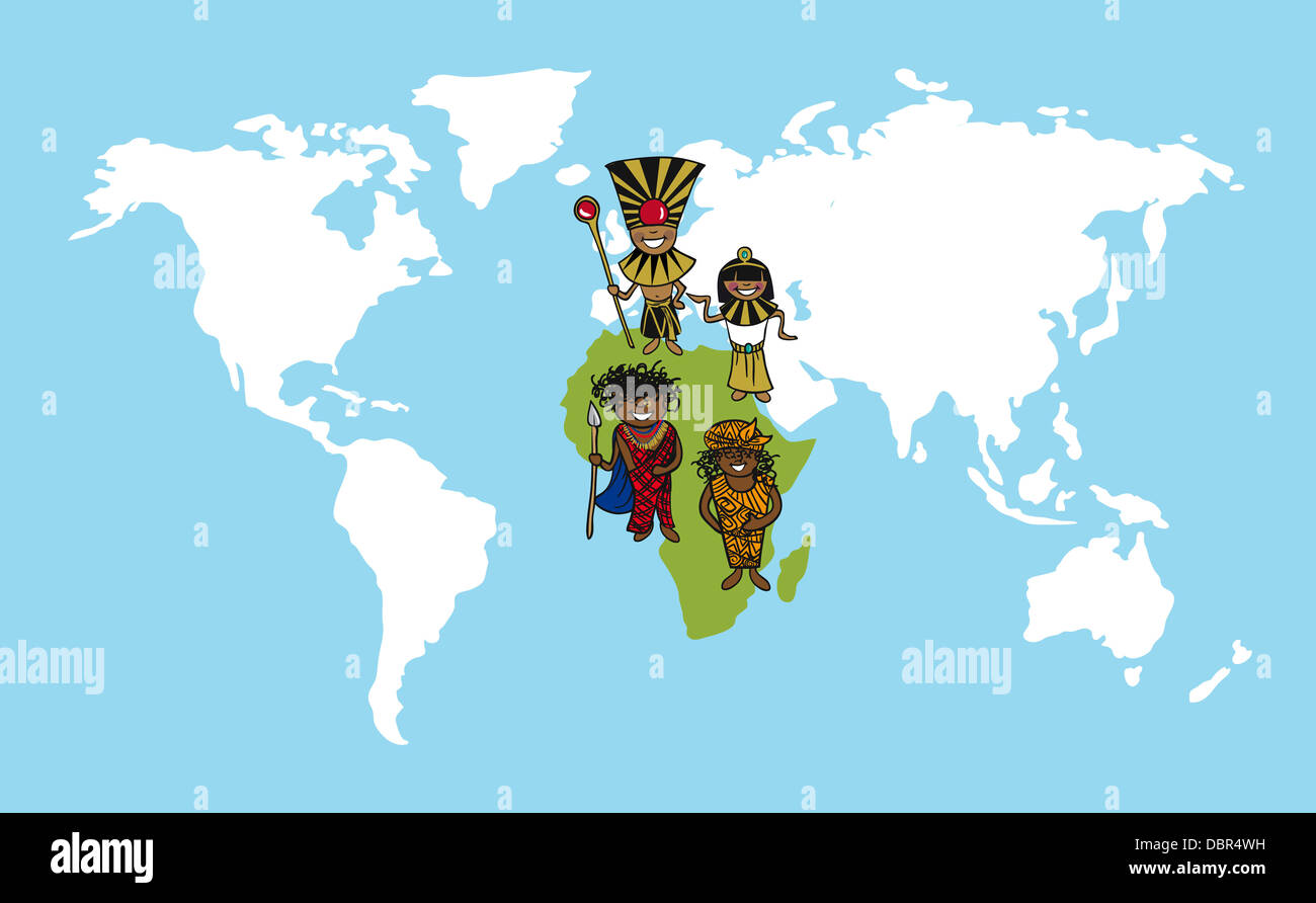 Diversity people concept world map team cartoon over african stock diversity people concept world map team cartoon over african continent vector illustration layered for easy editing gumiabroncs Image collections