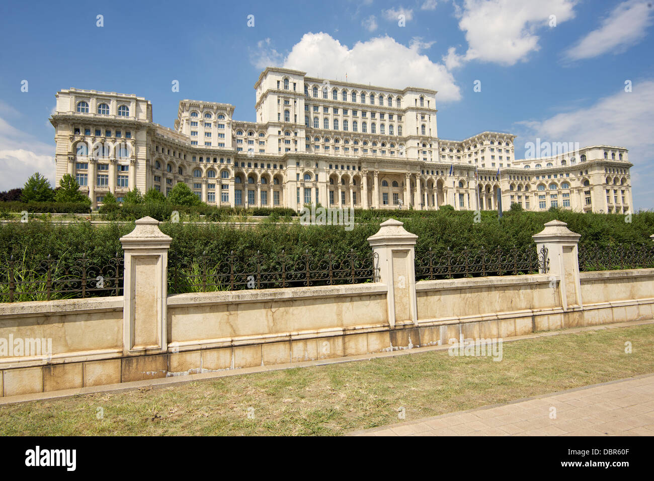 Palace of the Parliament in Romanian capital city of Bucharest - Stock Image