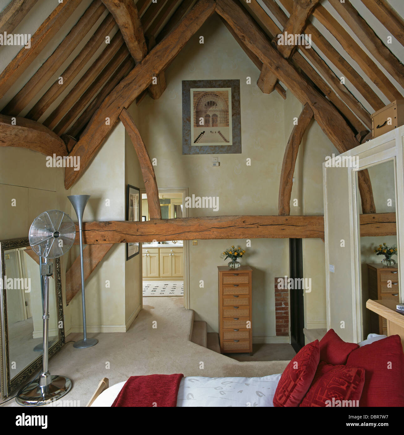 Barn Conversion Ideas Rustic Wooden Beams On Apex Ceiling In Barn Conversion