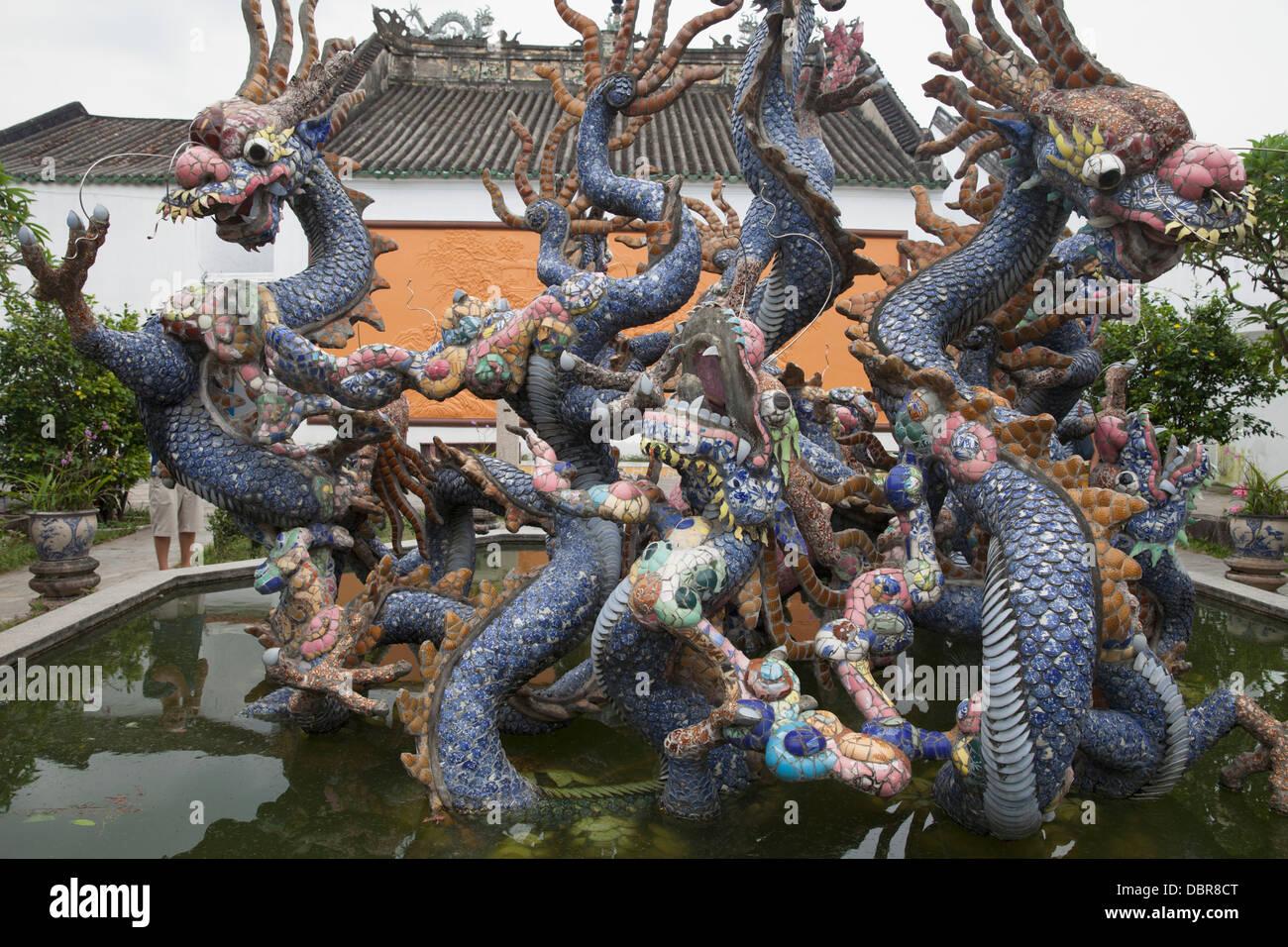 Dragon sculpture at Quang Trieu Cantonese Assembly Hall, Hoi An, Vietnam - Stock Image