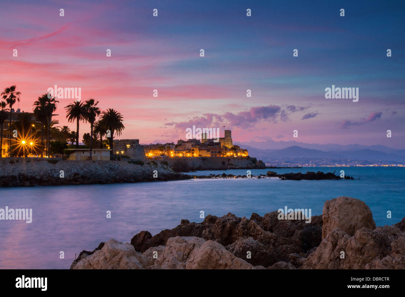 Seascape of Antibes at Sunset, Provence, France - Stock Image