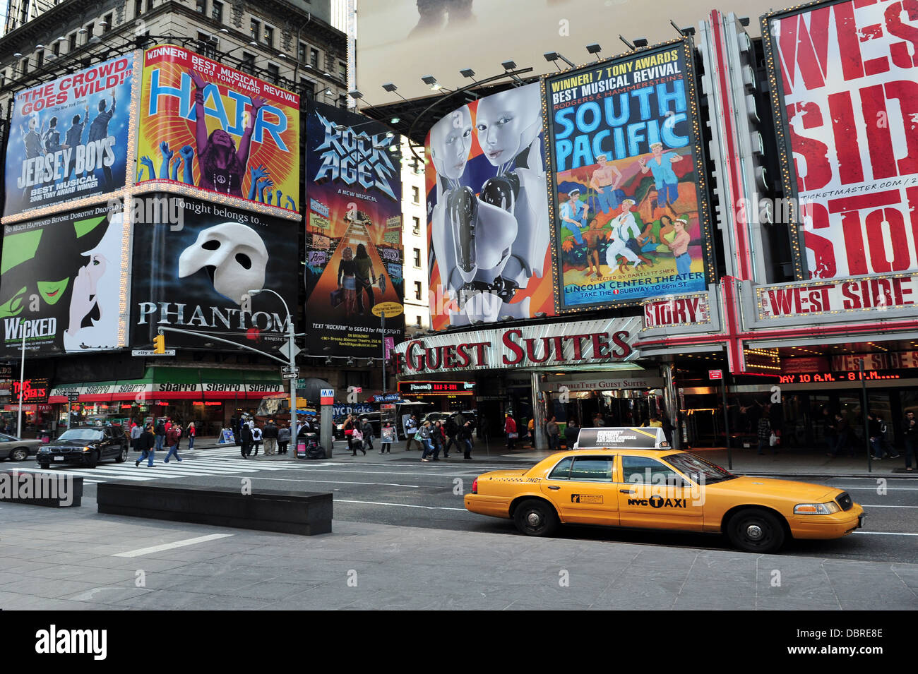 Broadway Theater District  in Manhattan New York NYC , USA - Stock Image