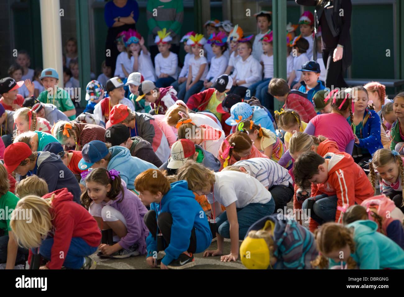 australian primary school children performing at their school open day concert,sydney - Stock Image