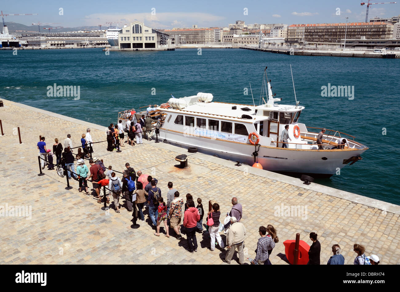 Queue for Ferry Boat in Marseille Harbour or Port France - Stock Image