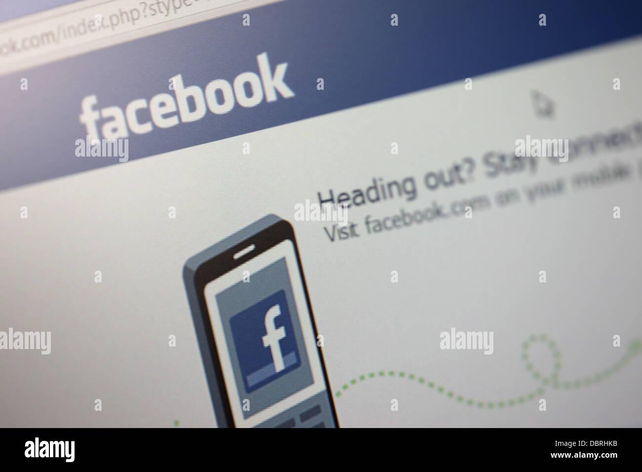 Facebook Homepage - Stock Image