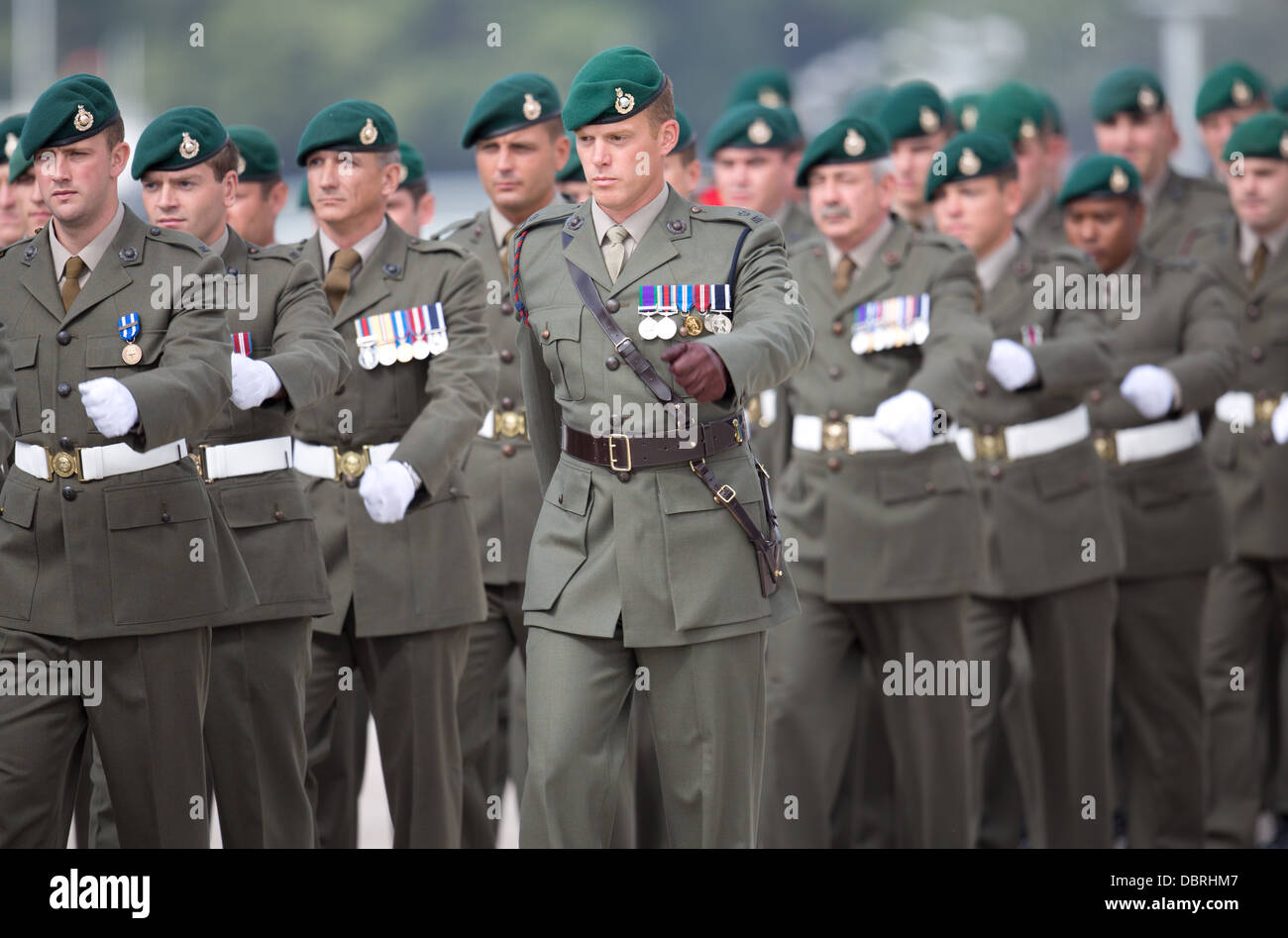 British army soldiers of the 1st Assault Group Royal Marines on parade at HMNB Devonport. - Stock Image