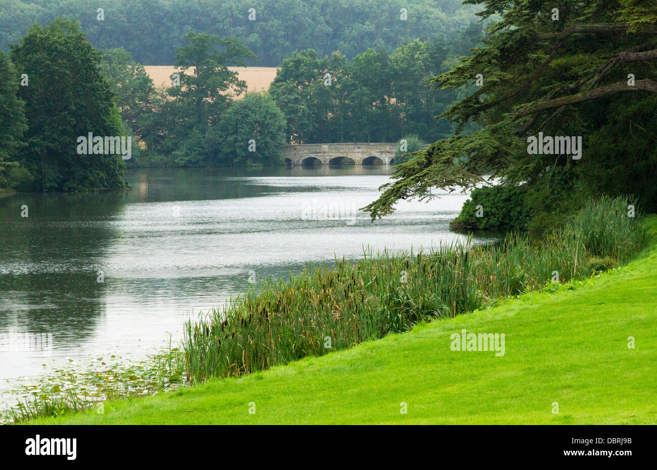 View of the Capability Brown Park at Compton Verney in Warwickshire England - Stock Image