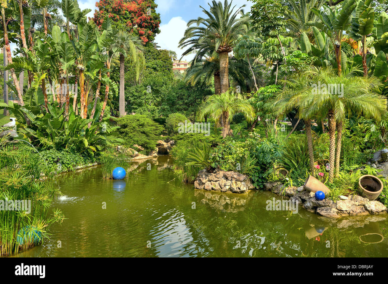 Little pond among trees and palms at the middle of urban tropical park in Monte Carlo, Monaco. - Stock Image