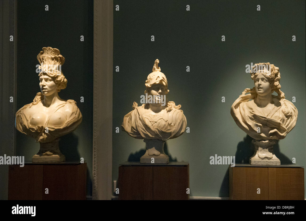 Marble busts in Compton Verney Museum WarwickshireEngland - Stock Image