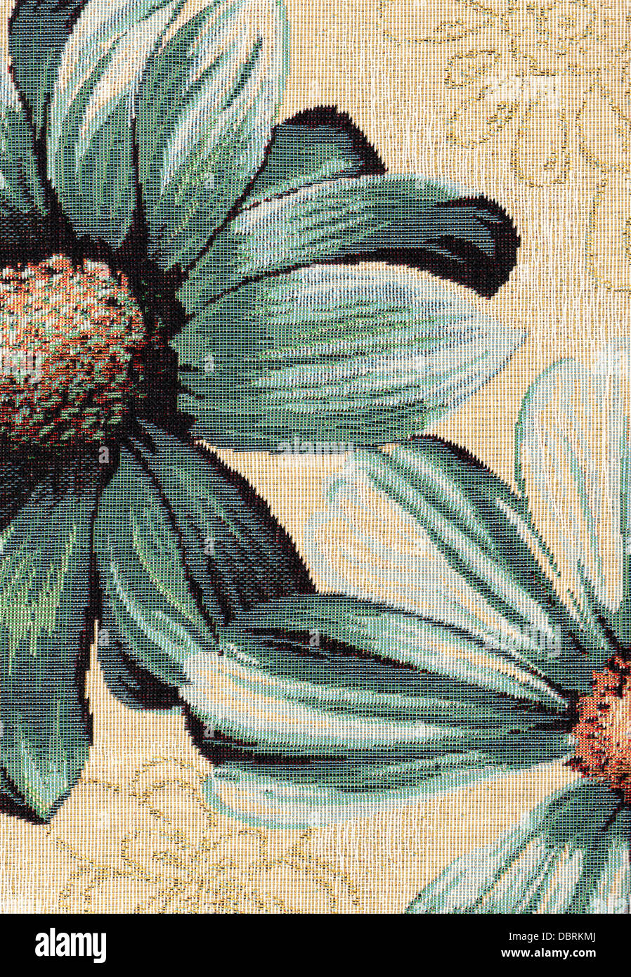 Closeup of retro tapestry fabric pattern with classical image of the colorful floral ornament - Stock Image