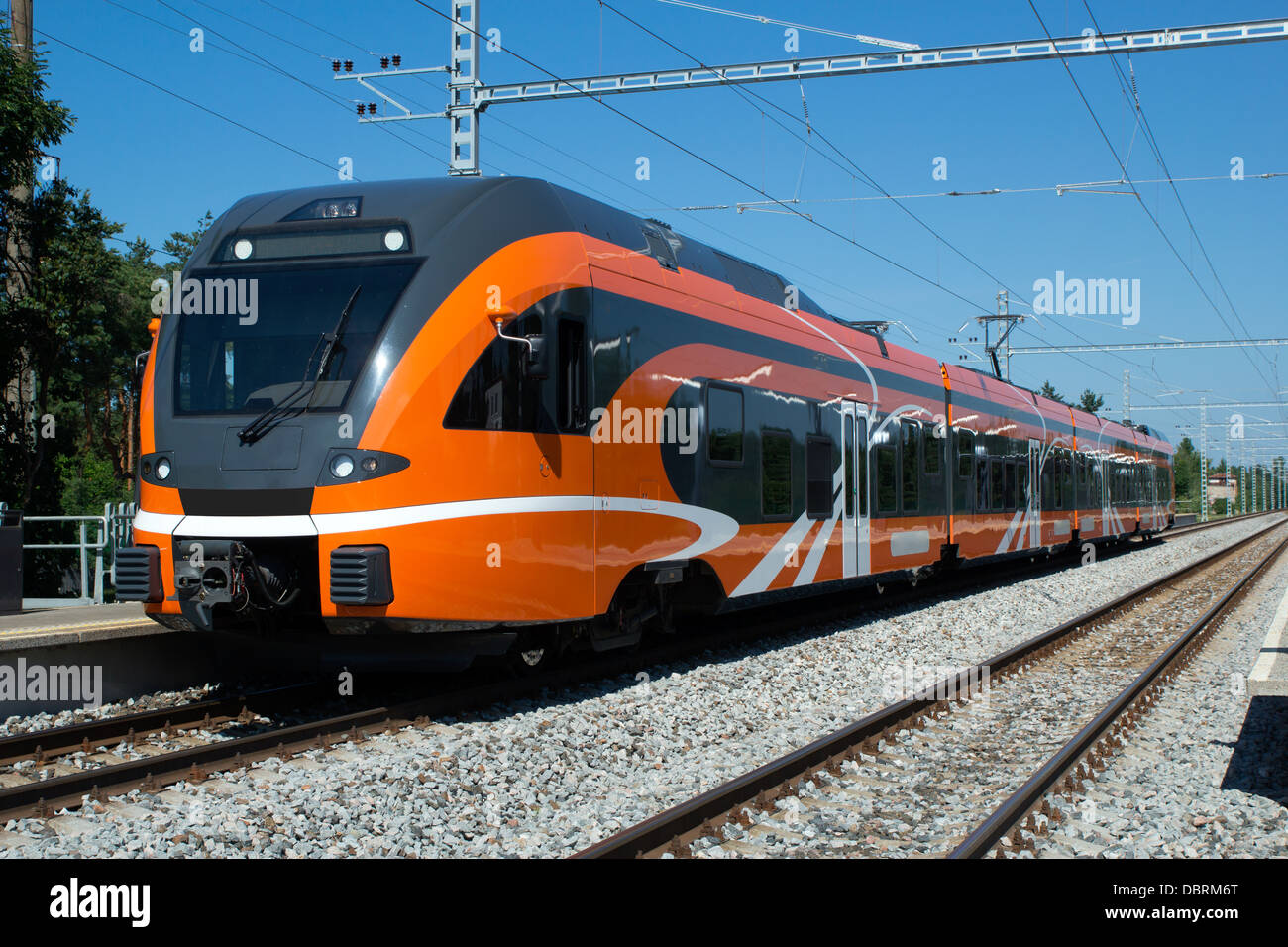 Front/side view of a modern urban short line electric train Stock Photo